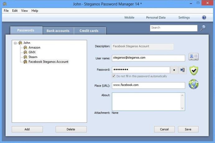 interface steganos password manager