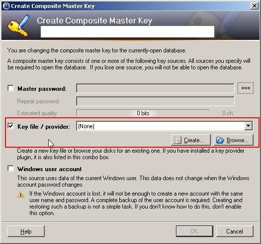 fichier clé keepass
